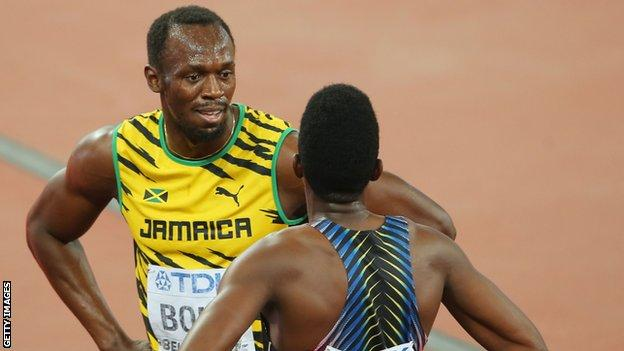 Francis competing against Usain Bolt