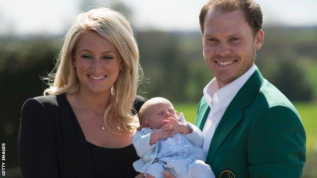 Danny Willett celebrates winning the Masters with his family