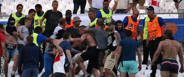 Fans clash in the Stade Velodrome