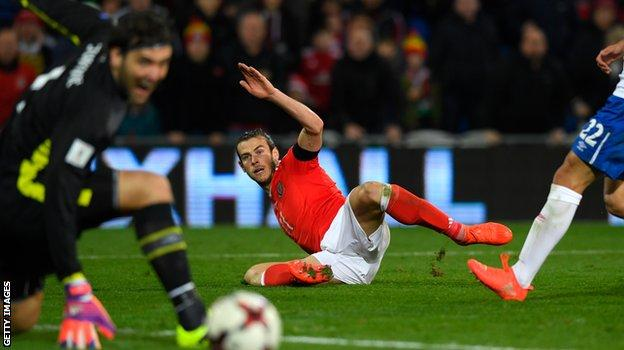 Gareth Bale's late shot beat Serbia keeper Vladimir Stojkovic but came back off the post