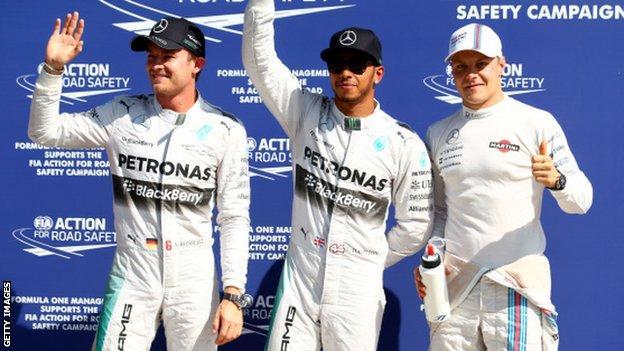 Nico Rosberg, Lewis Hamilton, Valterri Bottas