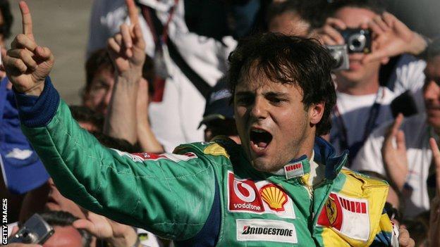 Felipe Massa celebrates winning the 2006 Brazilian Grand Prix