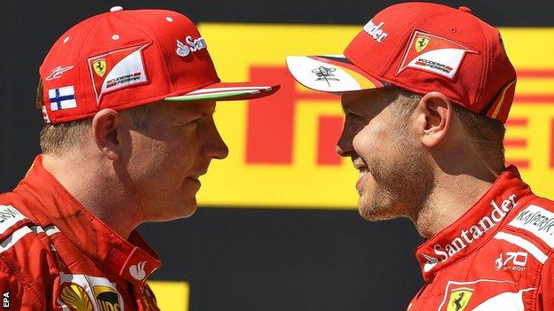 Kimi Raikkonen (left) and Ferrari team-mate Sebastian Vettel
