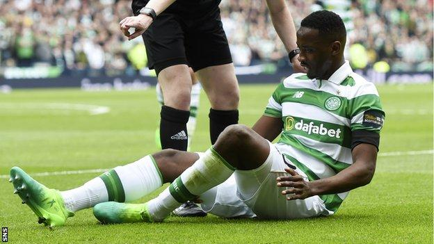 Moussa Dembele after injuring his hamstring in Celtic's Scottish Cup semi-final victory over Rangers