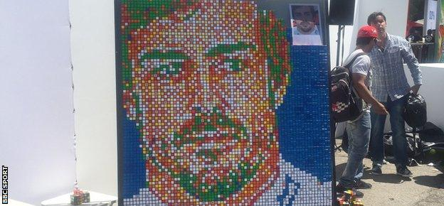 Fernando Alonso artwork created out of Rubik's cubes