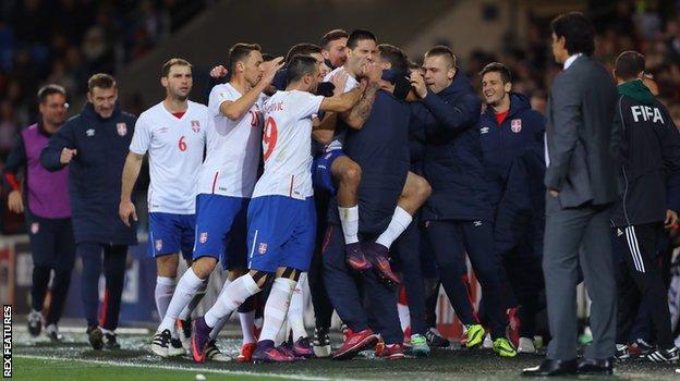 Serbia celebrate