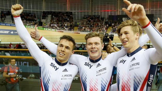 34555f4fd06 Britain's men win team sprint gold on the opening day of the second Track  World Cup of the season in Apeldoorn, Netherlands.
