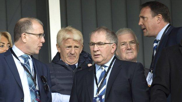 Scottish FA chief executive Stewart Regan, former Scotland manager Gordon Strachan, and SFA president Alan McRae