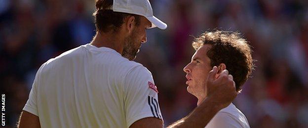 Ivo Karlovic and Andy Murray at Wimbledon 2015