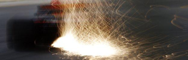 Sparks from Verstappen's car