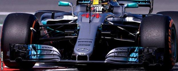 The Mercedes has a new nose for this race