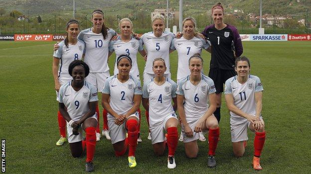 Eniola Aluko and the England women squad