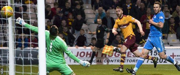 Motherwell's Louis Moult (second right) scores the third goal