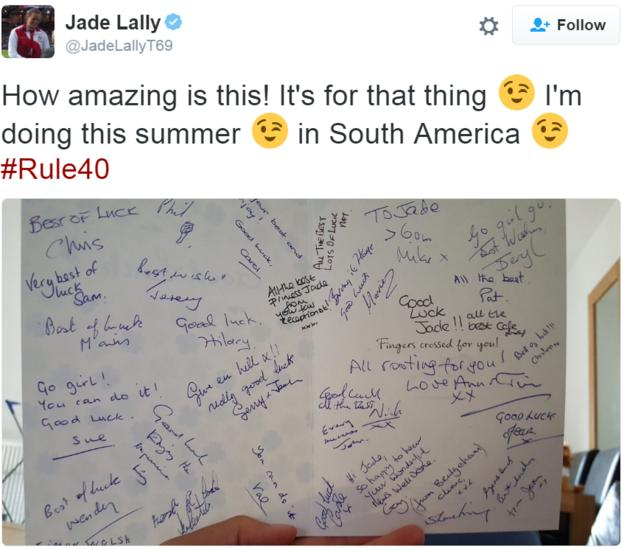 Jade Lally tweet