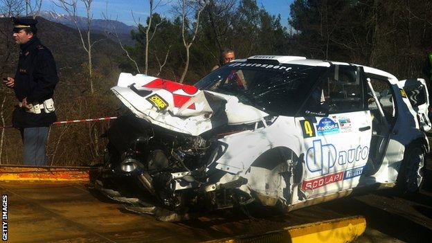The wreckage of Robert Kubica's Skoda Fabia after crashing during the Ronde di Andora Rally in Liguria in 2011