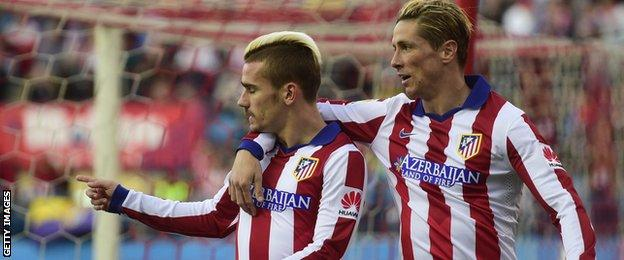 Atletico Madrid strikers Fernando Torres and Antoine Griezmann