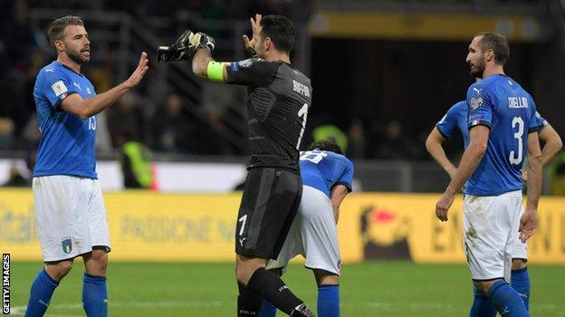 Andrea Barzagli (left), Gianluigi Buffon and Giorgio Chiellini