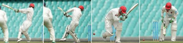 Hughes is struck by a bouncer from Sean Abbott