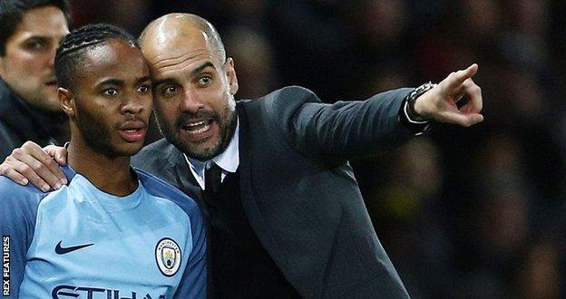 Raheem Sterling and Man City boss Pep Guardiola