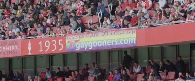 Gay Gooners flag at the Emirates