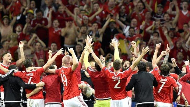 Wales team celebrate their win at full-time