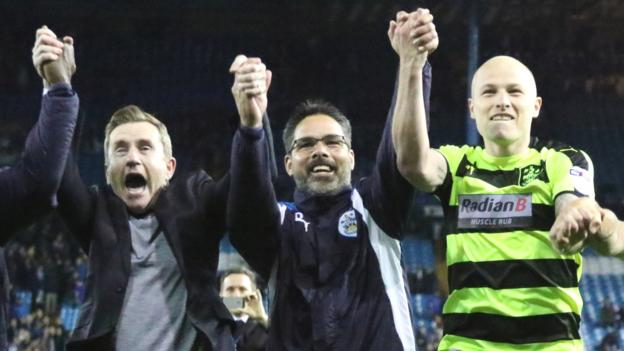 Image result for Huddersfield celebrate play-off win at Sheffield Wednesday