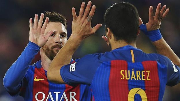 Barcelona 4-2 ValenciaDiego Alves - FC Barcelona - La Liga - Lionel Messi - Manchester City FC - Munir El Haddadi - Neymar - Real Madrid CF - Sergi Roberto - Valencia CF