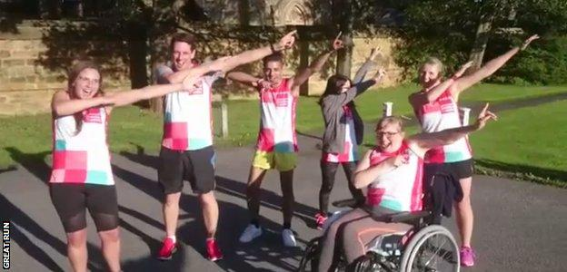 Team Brenda practise their 'Bolt' pose in preparation for the Great North Run