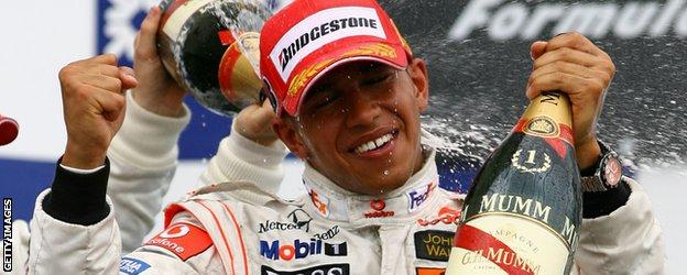 Lewis Hamilton celebrates his first win in Canada in 2007