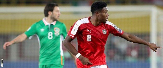David Alaba (right) in action against the Republic in November