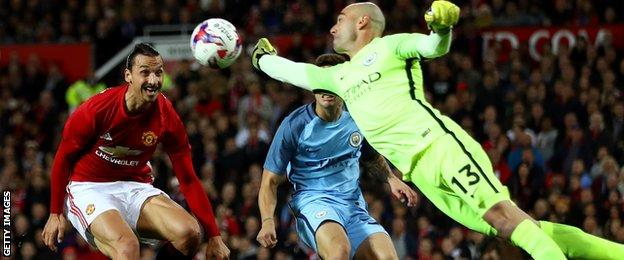 Caballero had to be quick off his line to deal with a cross when Ibrahimovic lurked