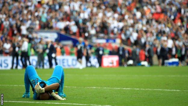Ali Al Habsi after losing the Championship play-off final while playing for Reading