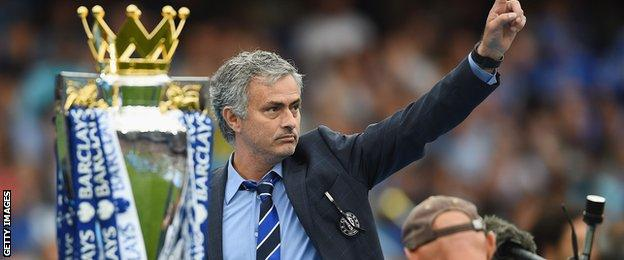 Jose Mourinho winning the Premier League title as Chelsea manager during the 2014-15 season