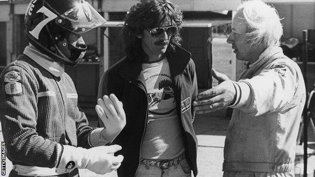Barry Sheene, George Harrison and John Surtees in 1978