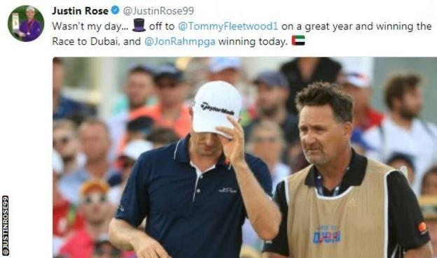 Rose leads after round three in Dubai golf