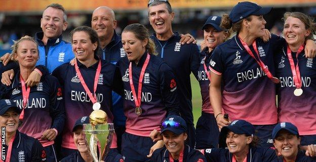 Mark Robinson celebrates with the England team