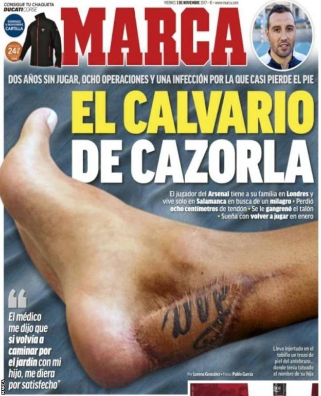 The front page of Friday's Marca