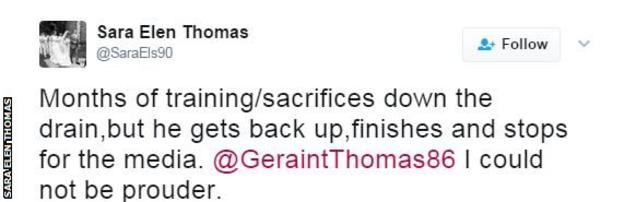 Thomas' wife tweeted about the crash