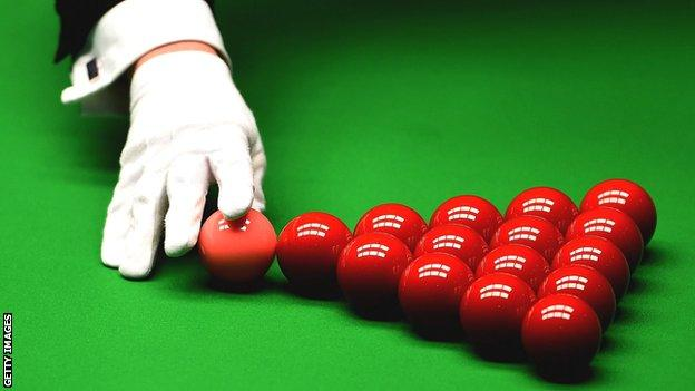 Snooker balls and glove