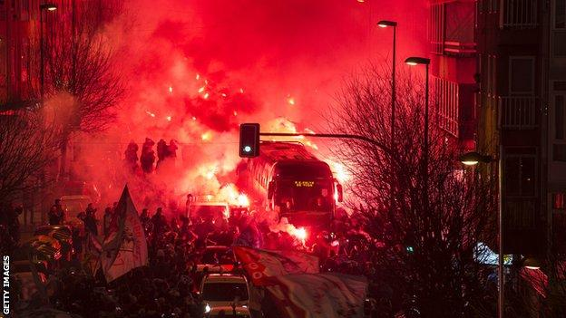 Celta Vigo fans outside Estadio Balaidos lit flares to greet the coach carrying their team ahead of the Copa del Rey aggregate win over Real Madrid in January