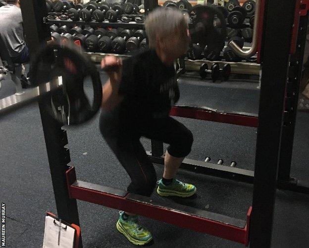 Maureen strengthens her legs and back with squats and deadlifts