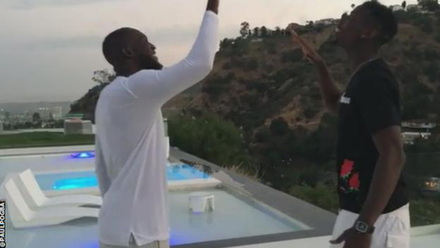 Manchester United midfielder Paul Pogba has shared several pictures of himself with Romelu Lukaku on social media in Los Angeles
