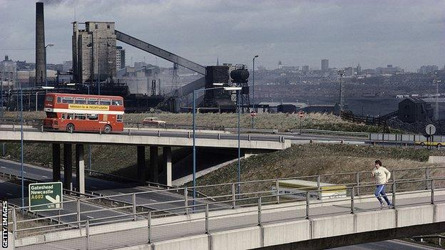 Brendan Foster of Great Britain trains on the outskirts of Gateshead