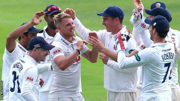 Essex celebrate a wicket