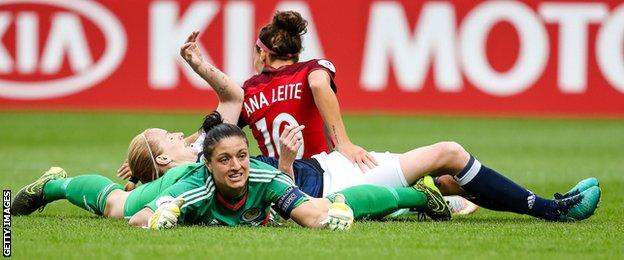 Scotland goalkeeper Gemma Fay watches on as Ana Leite's shot finds the back of the net for Portugal's second
