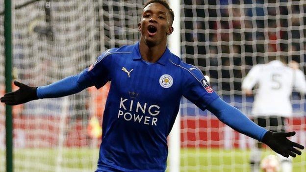 Leicester City's Demarai Gray celebrates scoring against Derby County