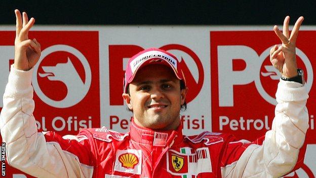 Felipe Massa celebrates winning the 2008 Turkish Grand Prix