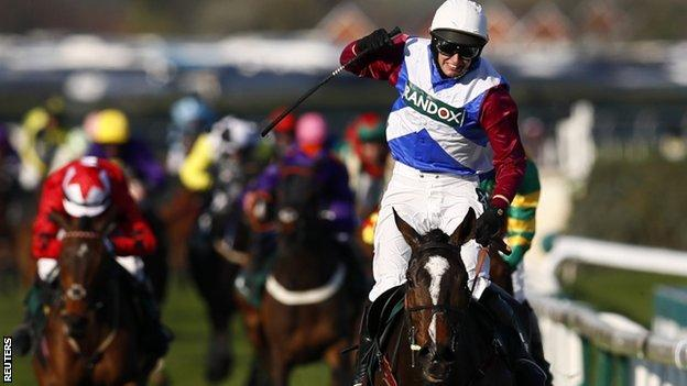 One For Arthur and jockey Derek Fox win the Grand National