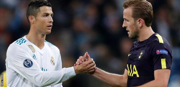 Ronaldo and Harry Kane shake hands after the Champions League match between Real Madrid and Tottenham at the Bernabeu on 18 October