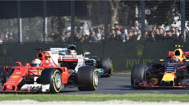 Vettel takes the lead